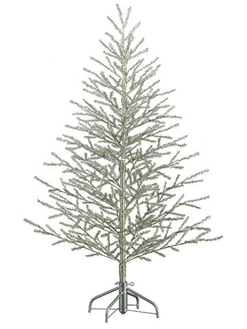 "5'Hx40""D Tinsel Tree x368 on Metal Stand Antique Silver"