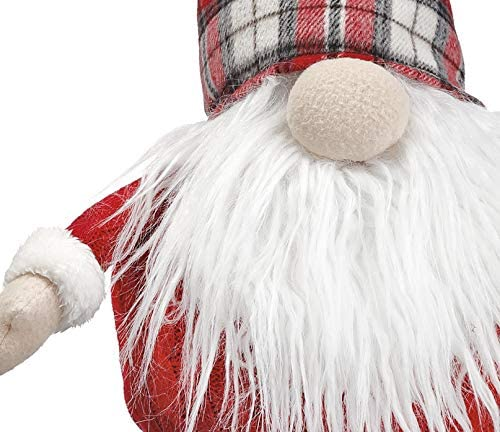 16 Inch Santa Christmas Gnome, Plush Gnome with Red Plaid Cap