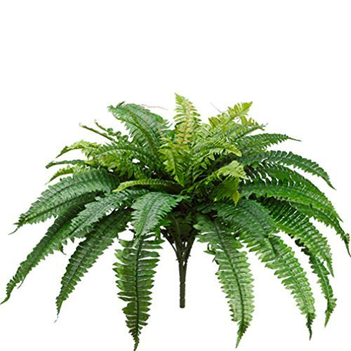 One 25 Inch Long Silk Artificial Boston Fern Bush 40 Inch Spread Plant 48 Branches