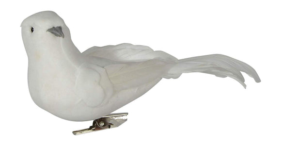 White Velvet Christmas Doves - Set of 6 Winter Doves with Real Feathers and Clips - 2.25 Inch x 5 Inch Bird Christmas Ornaments