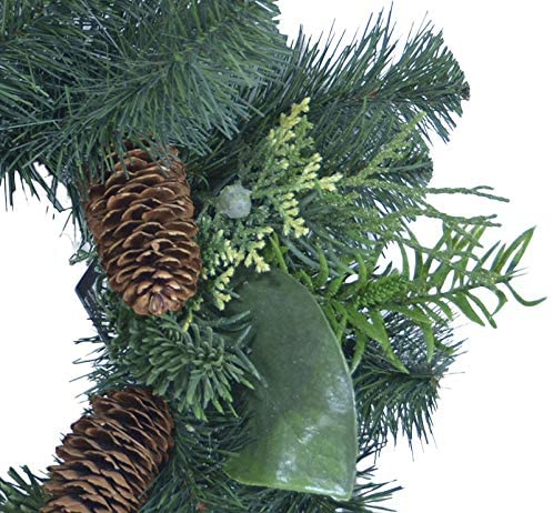 TenWaterloo 14 Inches Mixed Pine Christmas Candle Ring and Window Wreath with Pine Cones and Greenery, Artificial Pine