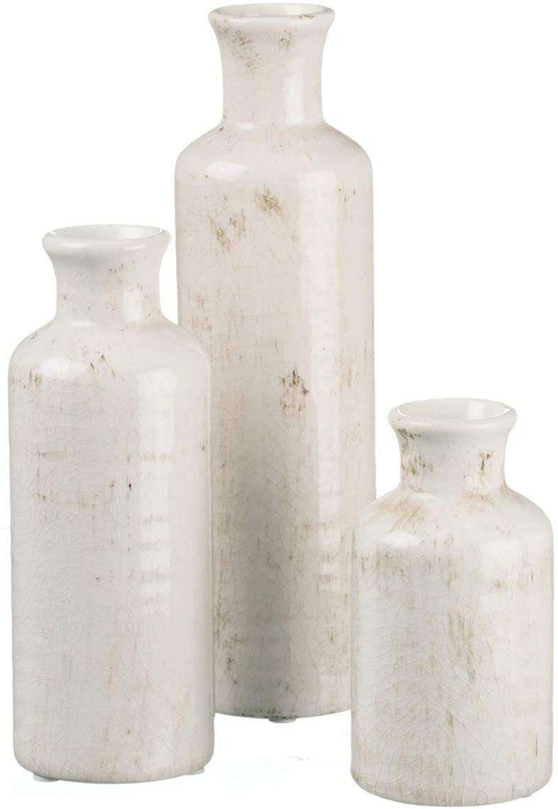 TenWaterloo Set of 3 Ceramic Bud Vases in Crackle Off White Finish- 5 Inches, 7.5 Inches and 10 Inches High