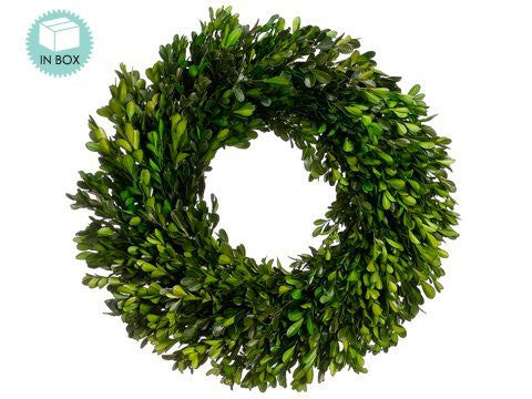 17 Inch Real Boxwood Wreath- Preserved Holiday Wreath