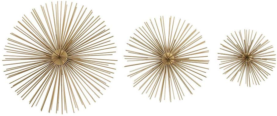 Zeckos 3 Piece Gold Finish Spiked Metal Sea Urchin Wall Sculpture Set