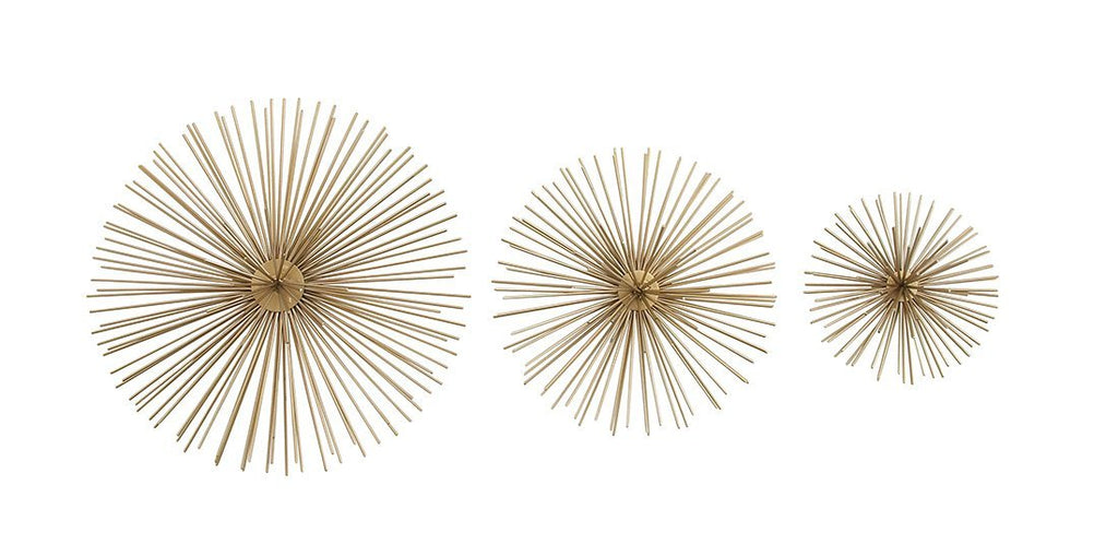 Metal Wall Sculptures 3 Piece Gold Finish Spiked Metal Sea Urchin Wall Sculpture Set 12 X 3 X 12 Inches Gold