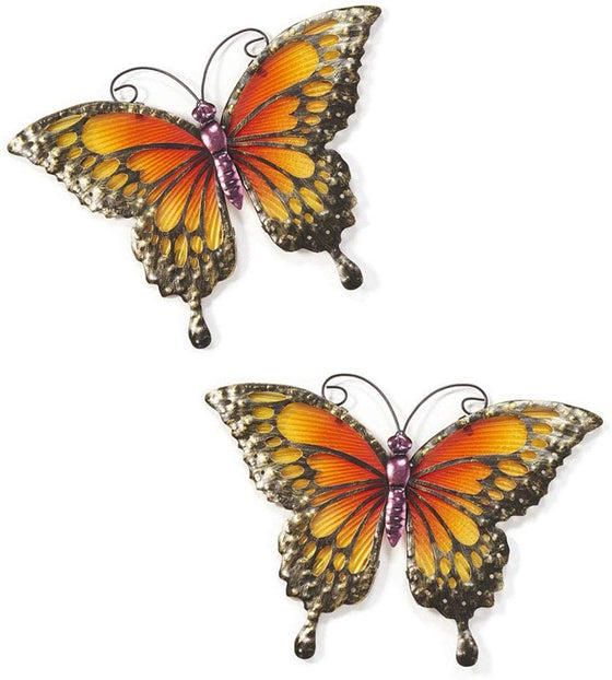 Set of 2 Metal and Glass Butterfly Hanging Wall Art, 12.25 Inches Each