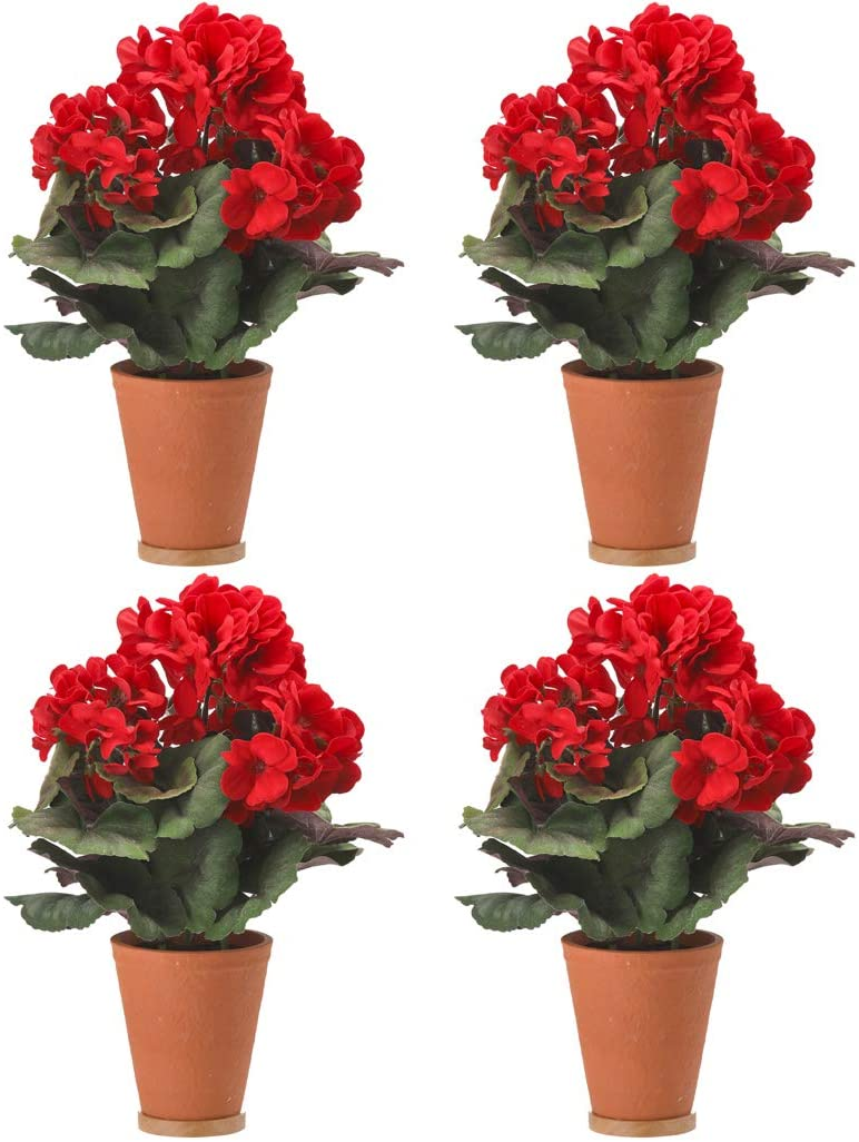 Set of 4 - Artificial Red Geranium Plants in Terracotta Pots, 13.5 Inch High Each, Indoor and Outdoor Use