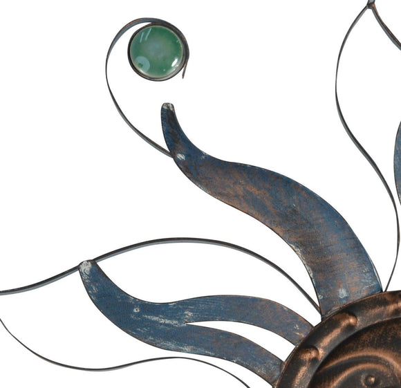 TII 22 Inch Celestial Sun Metal Wall Art in Copper and Grey Blue Rubbed Bronze Finish
