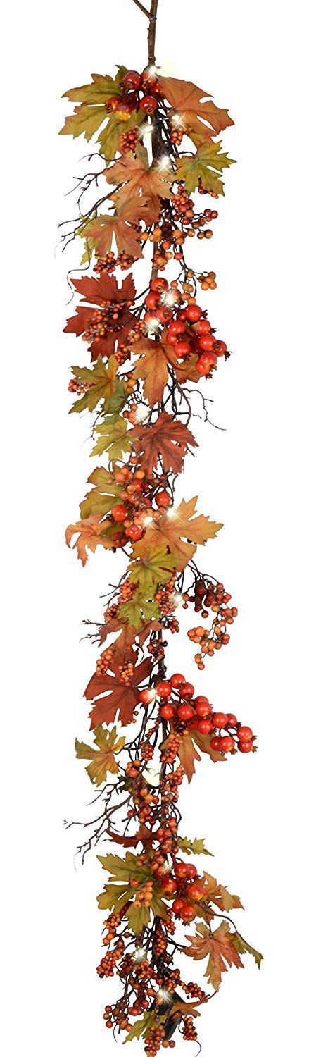 Ten Waterloo 60 Inch Pre-Lit LED Fall and Thanksgiving Garland with Lights and Timer - Battery Operated - Artificial Maple Leaf Garland with Berries - 5 Foot Garland