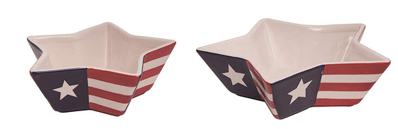 Set of 2 Patriotic Chip and Dip Set - American Flag Ceramic Bowls 9 and 7 Inches, Appetizer and Serving Bowls for 4th of July