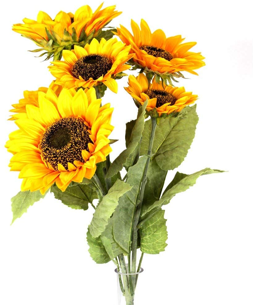 DE Yellow Sunflower Stem with 6 Blossoms, Artificial Floral, 22 Inch High