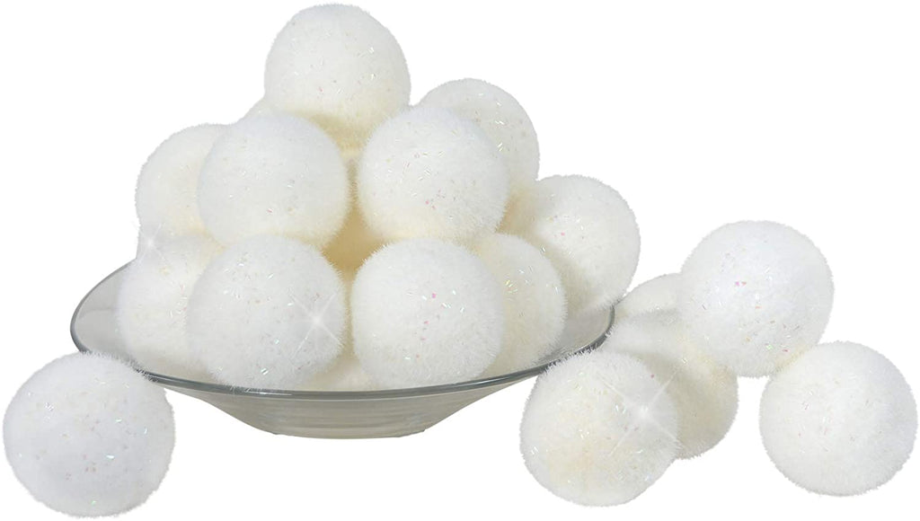 TenWaterloo 23 Large White Snowballs with Glittered Snow Effect, 3-1/4 Inch Diameter