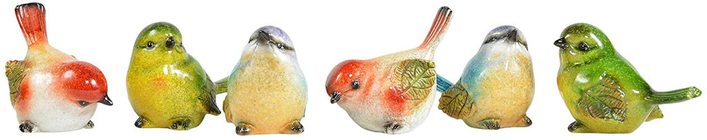 TII Set of 6 Sculpted Ceramic Birds 3 Inches x 3.5 Inches, Glazed Woodland Songbirds