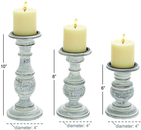 Ten Waterloo Wood Candle Holder, 10 by 8 by 6-Inch, White, Set of 3