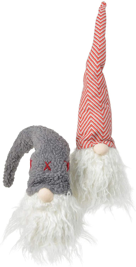 TII Set of 2 Christmas Plush Santa Gnomes in Charming Hats, Shelf Sitter Gnomes, 16 inches High