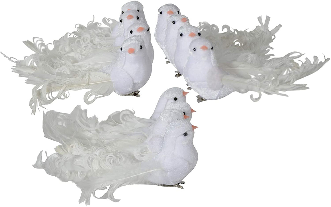 TenWaterloo White Velvet Christmas Birds - Set of 12 Winter Doves with Real Feathers and Clips - 2 Inch x 5 Inch Bird Christmas Ornaments