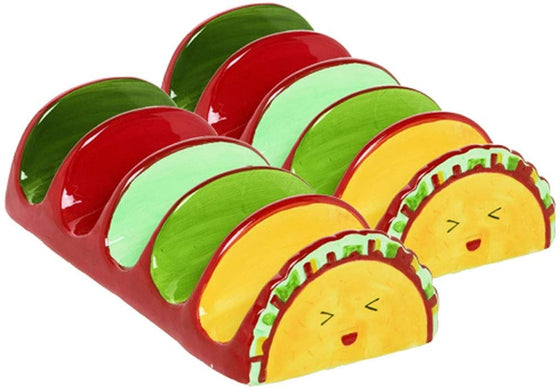 Set of 2 Ceramic Taco Holders, Brightly Glazed Taco Servers in Red, Green Yellow and Blue