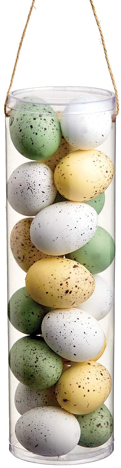 Allstate 19 Colored Speckled Artificial Easter Eggs, Green, White, Yellow
