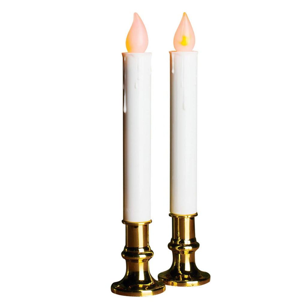 9 Inch Battery Operated Candolier Set of 2 Christmas Candles With Gold Color Base - With Timer