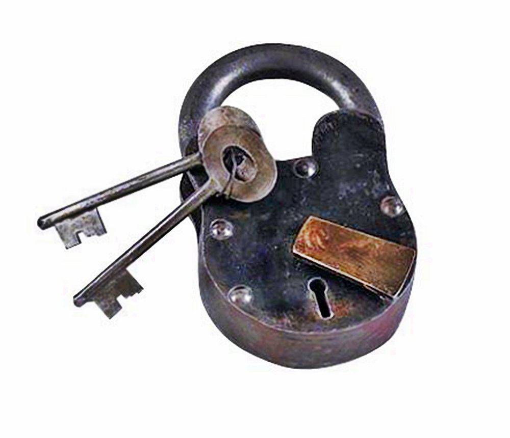 "Metal Brass Lock & Keys 2""H,1.25""W"