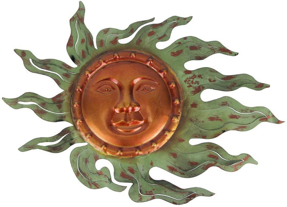 Gerson 17 Inches Long Metal Sun Face Wall Hanging Decor