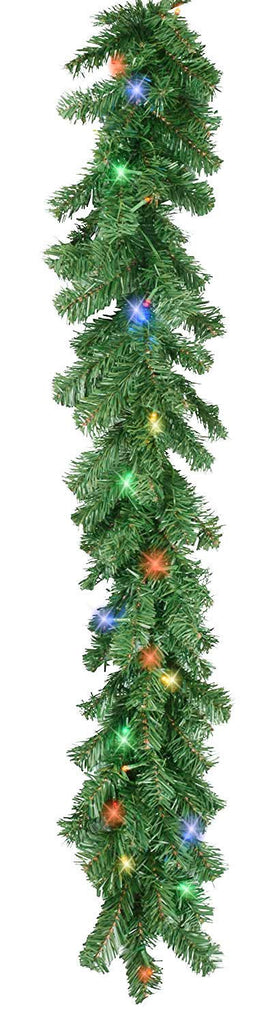 6 Foot Pre-Lit Christmas Pine Garland with Multicolored Lights, Battery Operated with Timer, Artificial Pine, Indoor/Outdoor Use