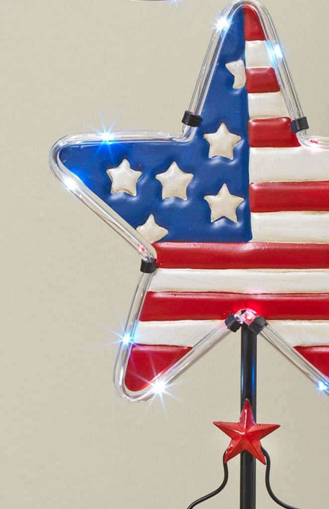 Gerson Set of 3 Patriotic Americana Solar Lighted Yard Stakes with Timers- Red, White and Blue in Metal 38 Inches High