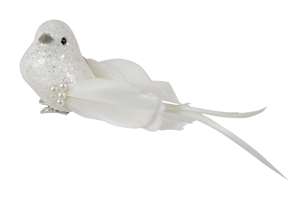 DE Set of 12 White Jeweled Christmas Birds 6 inches - Sparkled Winter Wrens with Clips and Pearls