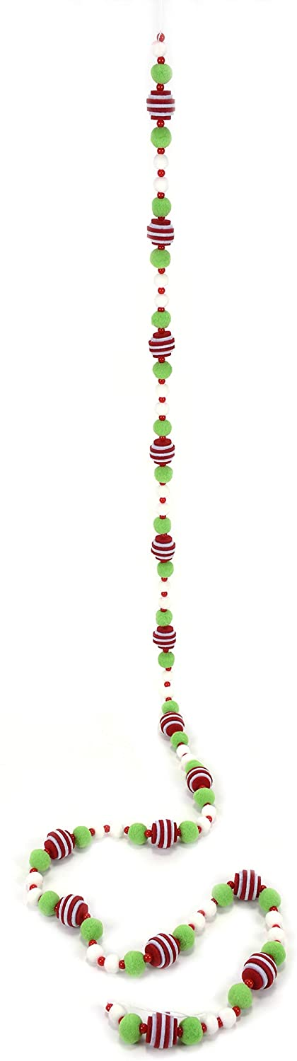 DE 6 Foot Christmas Pom Pom Snowball Garland with Green and White Felted Balls and Red and White Stacked Felt Balls, Beaded Accents
