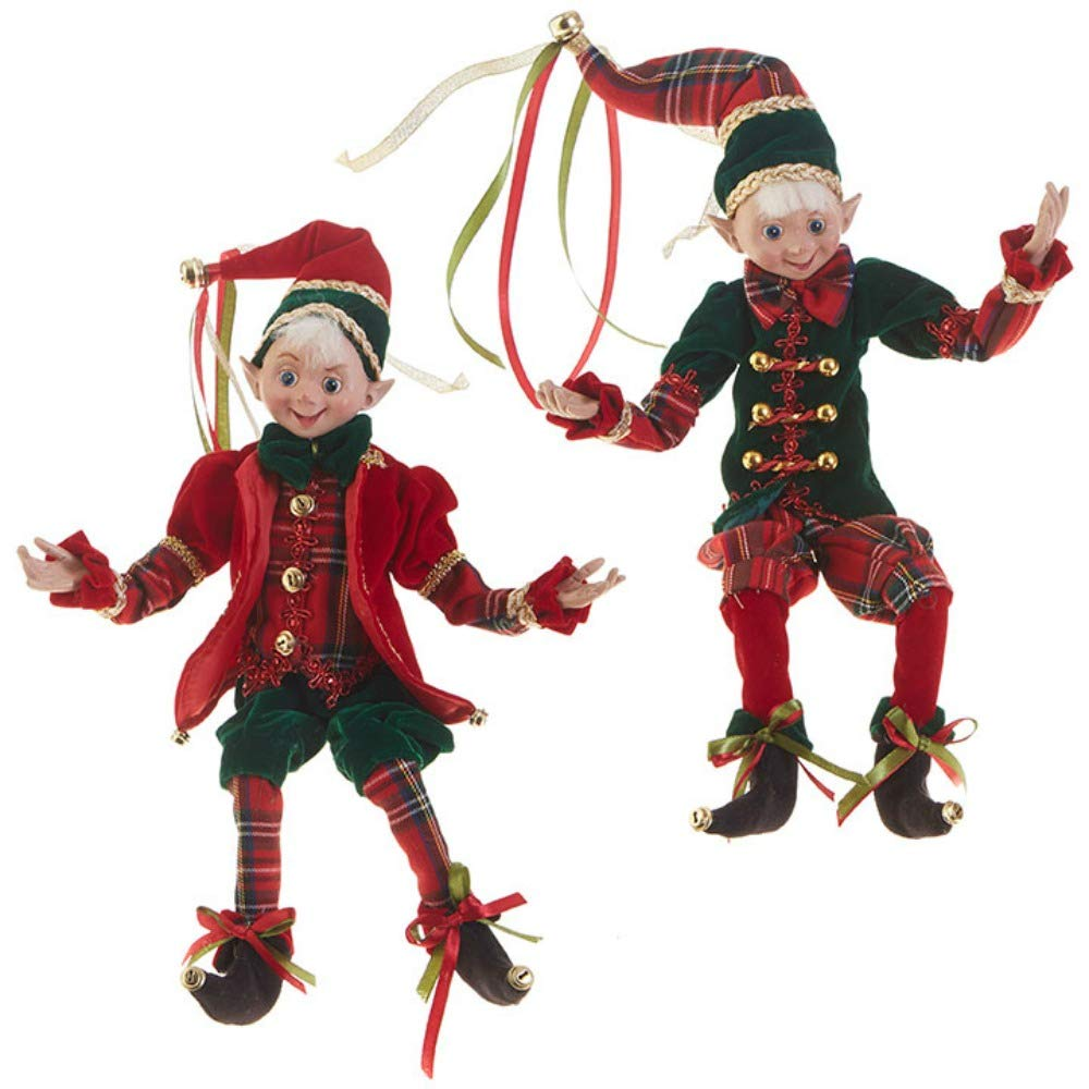 "RAZ Imports SET OF 2 Raz 16"" Red and Green Plaid Posable Elf Christmas Figure 3802294"