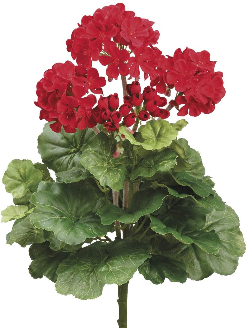 Red Artificial Geranium Bush 15 Inches High, Geranium Flowers with New Blossoms and Lush Green Leaves