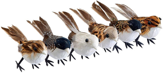 Set of 6 Songbirds with Real Feathers in Cream, Brown and Black 3.5 Inches x 2.25 Inches, Wired