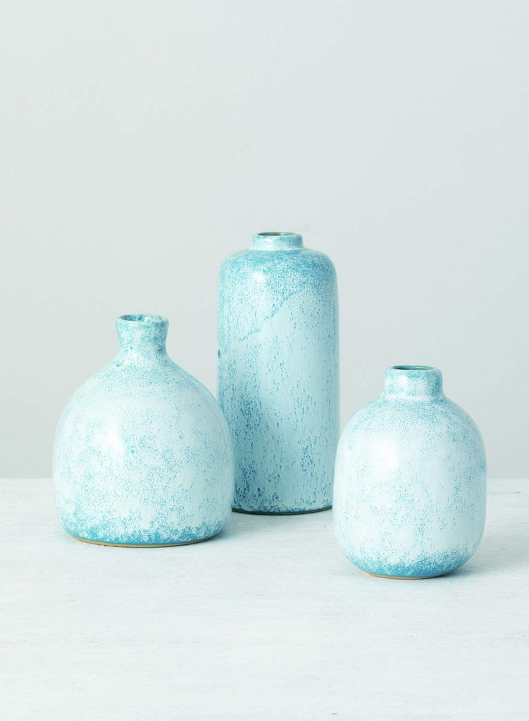 TenWaterloo Set of 3 Ceramic Bud Vases in Speckled Blue and White Glaze- 4 Inches, 4.75 Inches and 6 Inches High