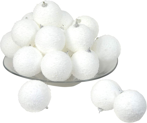 TenWaterloo Set of 24 Christmas Snowball Ornaments and Bowl Fillers, 3 Inch Sparkling White Frosted Snowballs on Silver Finials,