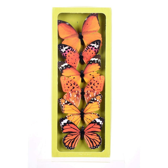 DE 6 Artificial Monarch Butterflies with Clips, 4 Inches, Oranges and Yellows