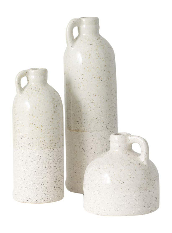 TenWaterloo Set of 3 Ceramic Bud Vases in Speckled Cream Finish- 4 Inches, 7.5 inches and 9.5 Inches High