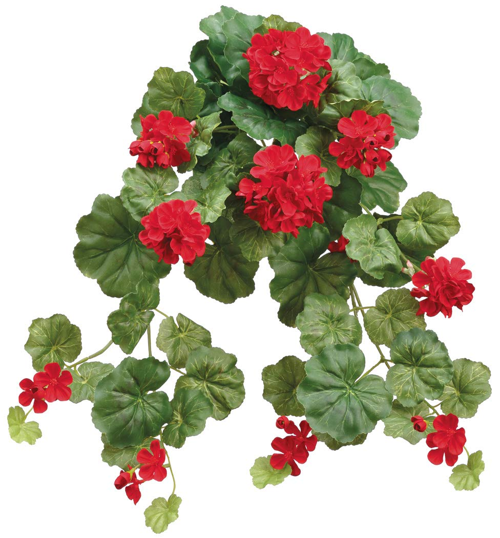 14 Inch Artificial Red Geranium Hanging Bush, Red