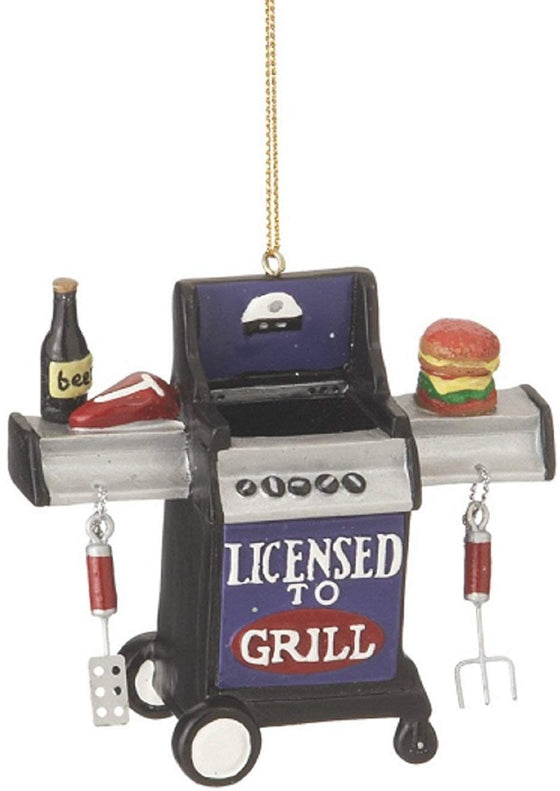 "Christmas Holiday ""Licensed to Grill"" Outdoor Grill Figurine Ornament - 3.5"" x 3"" x 1.5"""