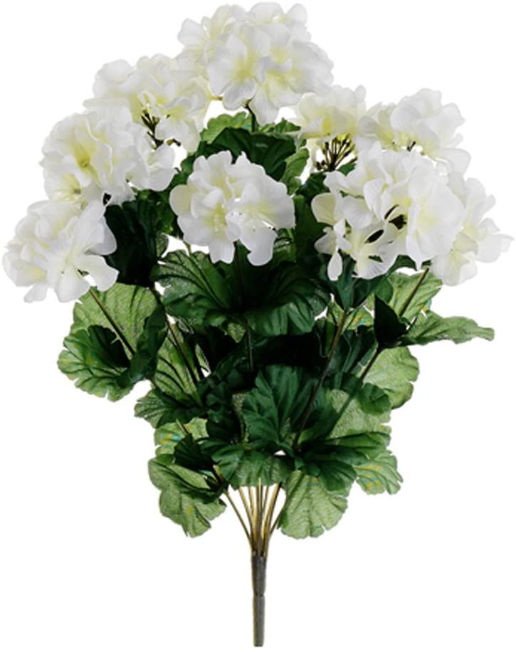 "17"" Geranium Bush x9 White (Pack of 12)"