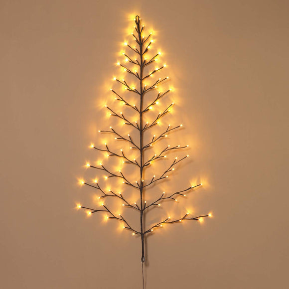 TenWaterloo Lighted Christmas Wall Tree - Indoor/Outdoor LED 4 Foot High - Warm White Lights - Battery Operated with Timer