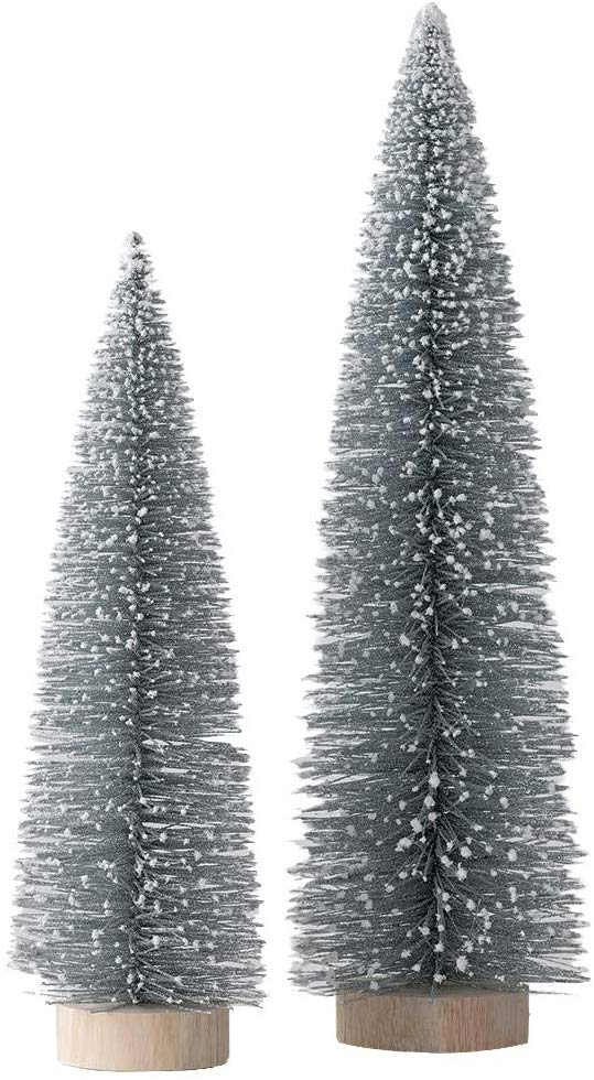 Set of 2 Silver Sparkling Christmas Table Top Trees Tipped with Snow, 18.5 and 14 Inches High