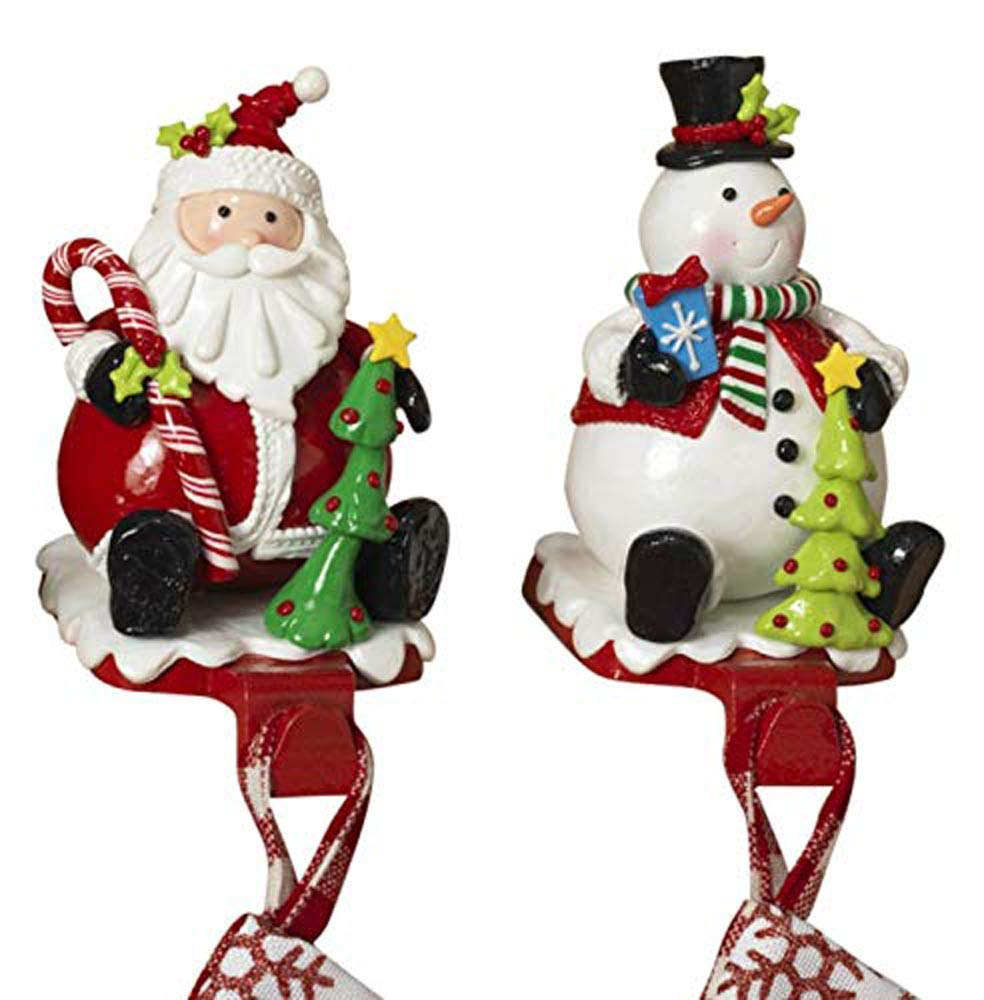 GER Set of 2 Christmas Stocking Hangers - Santa and Snowman in Claydough Inspired Weighted Design