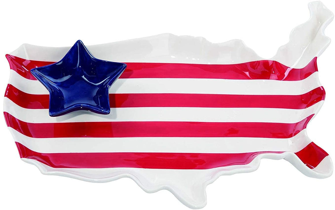 Patriotic Ceramic Platter, 4th of July Americana USA Chip and Dip Set of 2 - Red, White and Blue Serving Dish