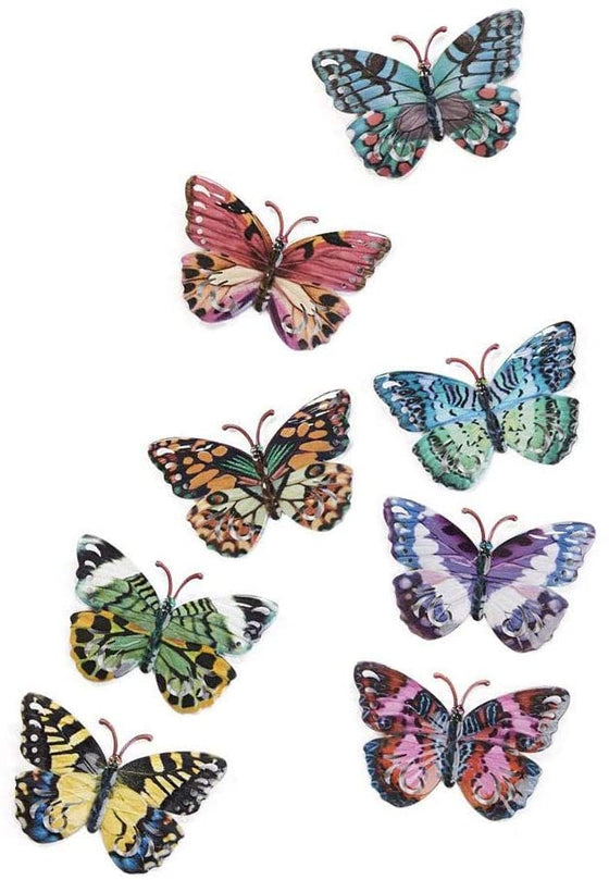Set of 8 Metal Butterflies Hanging Wall Art, 5.75 Inches, 8 Designs in Colorful Enamel