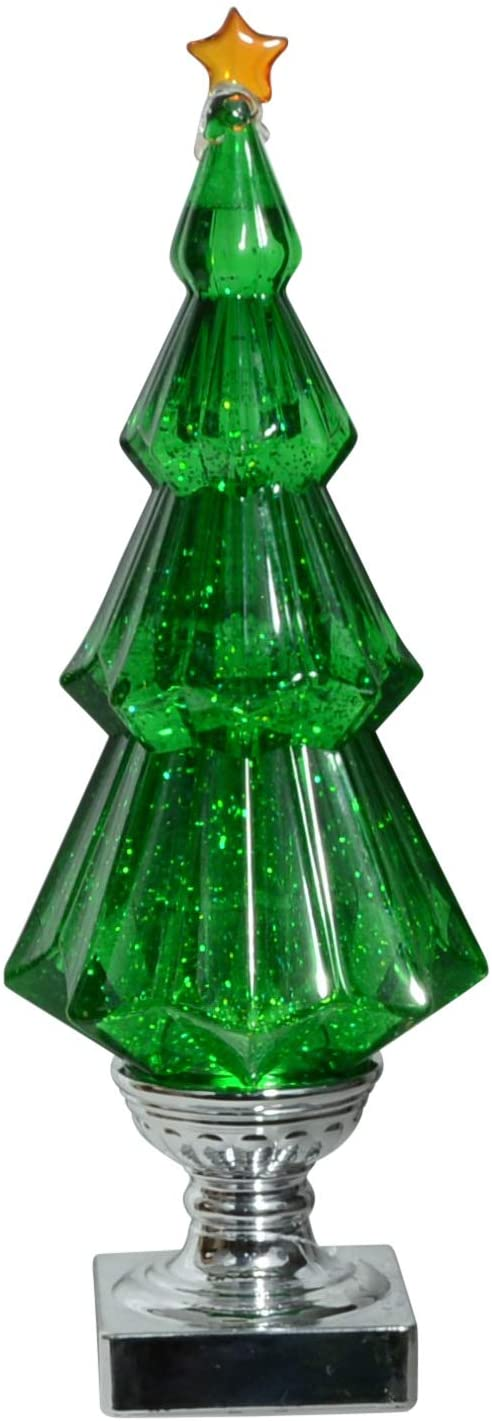 Lighted Christmas Tree Water Snow Globe - Battery Operated with Swirling Snow 14 Inches High - Green