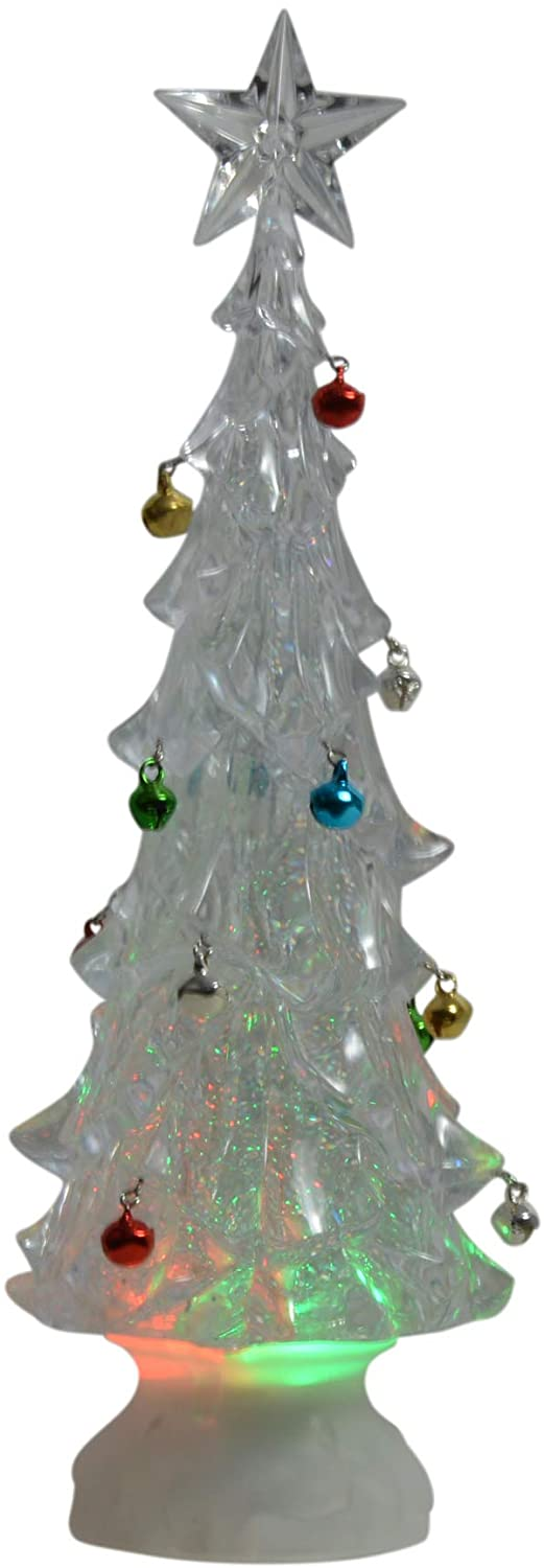 11.5 Inch Swirling Light Up Water Globe Christmas Tree, Changing Lights and Jingle Bells, Battery Operated