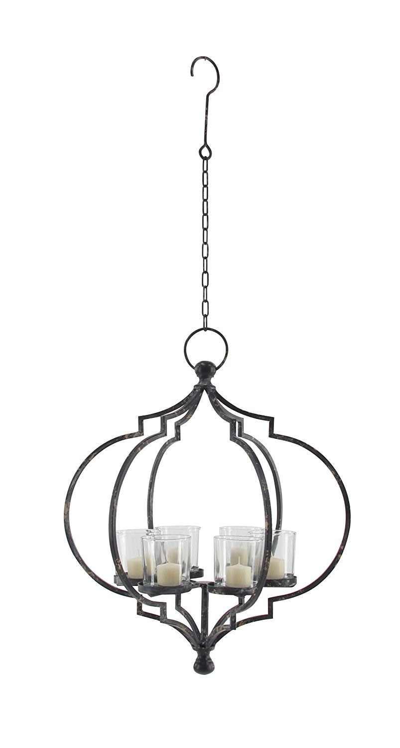 Metal and glass candle chandelier 6 candle chandelier for votive metal and glass candle chandelier 6 candle chandelier for votive and pillar candles 20 inches high arubaitofo Images
