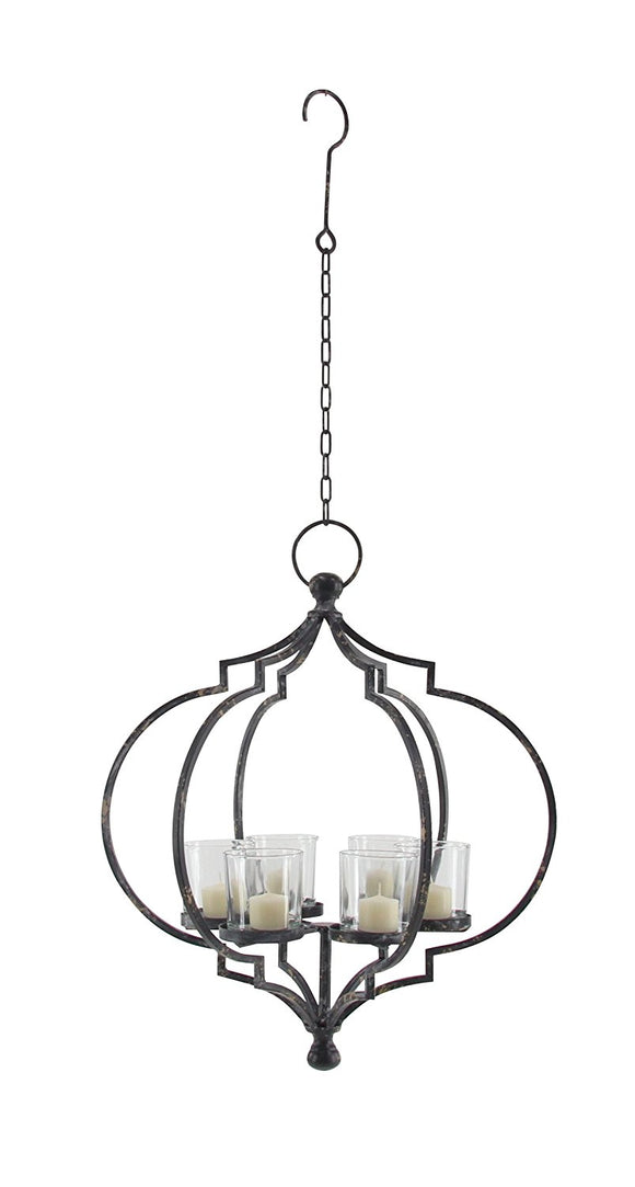 Metal and Glass Candle Chandelier, 6 Candle Chandelier for Votive and Pillar Candles, 20 inches high