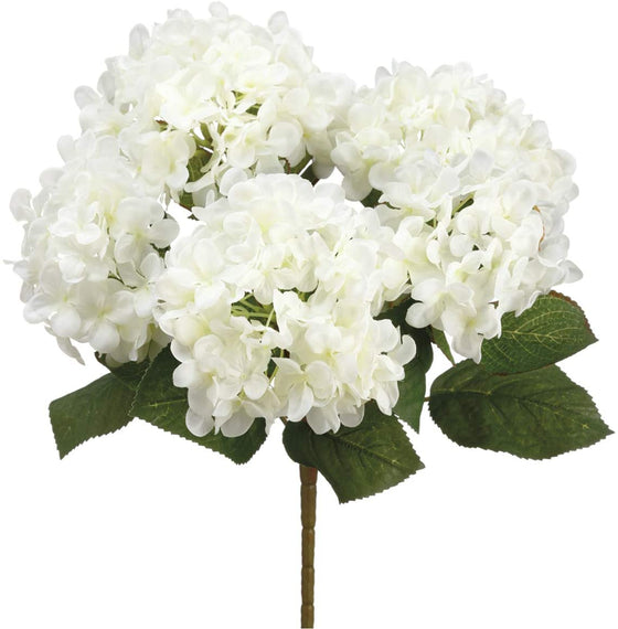 Cream Artificial Hydrangea Bush 14 Inches High, Hydrangea Flowers