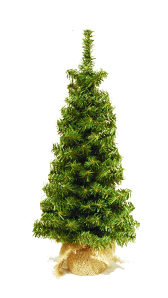 24 Inch Tabletop Christmas Pine Tree with Burlap Wrapped Base, Artificial Pine Tree